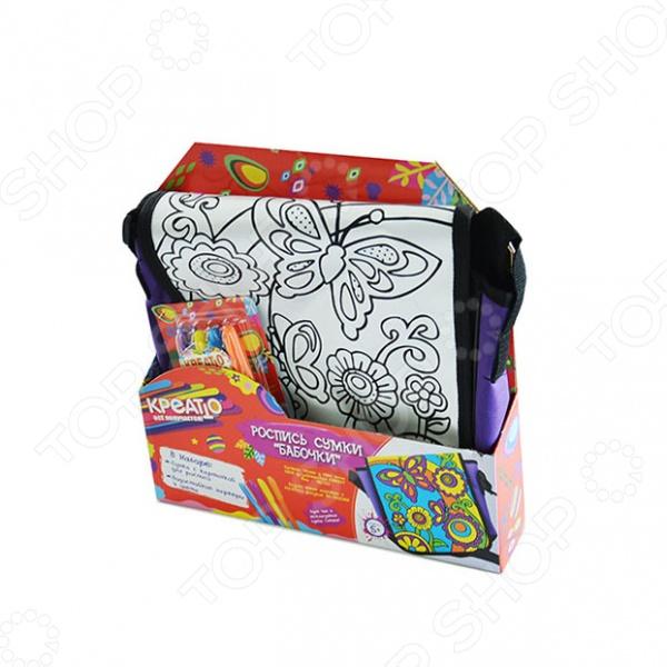 Набор для росписи сумочки Креатто «Бабочки»Роспись<br>Набор для росписи сумочки Креатто Бабочки это отличный подарок для юной рукодельницы. Она сможет своими руками создать сумочку. В набор входит все необходимое для создания настоящей сумки своими руками: сумка с нанесенным рисунком и набор из четырех перманентных водостойких маркера фиолетового, желтого, голубого и оранжевого цветов . Просто надо взять водостойкие маркеры и раскрасить рисунок. Все, уникальная сумка будет готова.<br>
