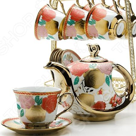Чайный набор Loraine LR-24784Чайные и кофейные наборы<br>Чайный набор Loraine LR-24784 рассчитан на шесть персон. Он внесет яркий акцент в сервировку стола и станет отличным дополнением к набору ваших кухонных принадлежностей. Посуда выполнена из высококачественной керамики и украшена оригинальным цветочным рисунком. Торговая марка Loraine это синоним первоклассного качества и стильного современного дизайна. Компания занимается производством и продажей кухонных инструментов, аксессуаров, посуды и т.д. Функциональность, практичность и инновационные решения вот основные принципы торгового бренда Loraine.<br>