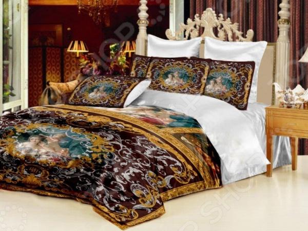 Комплект постельного белья «Мадонна». 1,5-спальный. Цвет: коричневый