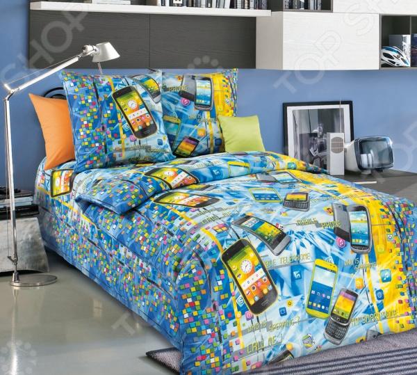 Комплект постельного белья Белиссимо «Смартфон». 1,5-спальный1,5-спальные<br>Комплект постельного белья Белиссимо Смартфон производится из высококачественной бязи, 100 хлопка. Использование особо тонкой пряжи делает ткань мягче на ощупь, обеспечивает легкое глажение и позволяет передать всю насыщенность цветовой гаммы. Благодаря более плотному переплетению нитей и использованию высококачественных импортных красителей, постельное белье Василиса выдерживает до 70 стирок. В качестве сырья для изготовления этого изделия использованы нити хлопка. Натуральное хлопковое волокно известно своей прочностью и легкостью в уходе. Волокна хлопка состоят из целлюлозы, которая отлично впитывает влагу. Хлопок дышит и согревает лучше, чем шелк и лен. Поэтому одежда из хлопка гарантирует владельцу непревзойденный комфорт, а постельное белье приятно на ощупь и способствует здоровому сну. Не забудем, что хлопок несъедобен для моли и не деформируется при стирке. За эти прекрасные качества он пользуется заслуженной популярностью у покупателей всего мира. Комплект постельного белья Белиссимо Смартфон выполнен из ткани бязь. Бязь это одна из самых популярных тканей. Постоянному спросу на такую ткань способствует то, что на протяжении многих лет она остаётся незаменимой в производстве постельного белья, медицинской одежды, мужских сорочек и даже детских пеленок. Это объясняется уникальными свойствами такой ткани: она неприхотлива и долговечна.<br>
