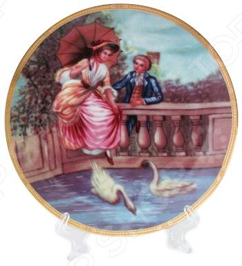 Тарелка декоративная Elan Gallery «Влюбленные на мосту» вышивка на аничковом мосту