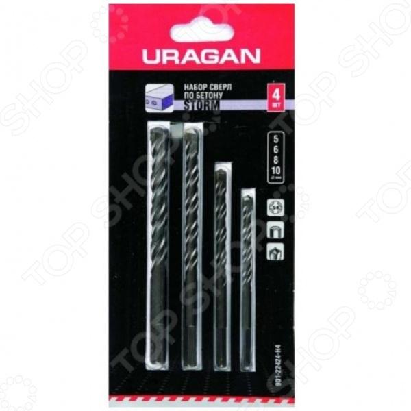 Набор сверл по бетону URAGAN Storm 901-22424-H4Наборы сверл<br>Набор сверл по бетону URAGAN Storm 901-22424-H4 состоит из 4 предметов с увеличенной производительностью сверления, изготовленные из высококачественного материала. Используются в работе с камнем, в отдельности с кирпичной кладкой, бетоном, природным и искусственным камнем. Спираль имеет U-образную форму, что обеспечивает идеальный отвод продуктов сверления и препятствует перегреву. Усиленный стержень предохранит предмет от деформации при ударных нагрузках. Поверхность обработана для предотвращения появления коррозии.  Сверла ударные: 5; 6; 8; 10 мм.  Пластина твердосплавная ВК8.  Угол заточки при вершине 130 .  Хвостовик шестигранный.<br>