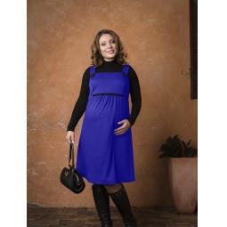 фото Сарафан для беременных Nuova Vita 2008.02. Цвет: индиго. Размер одежды: 50