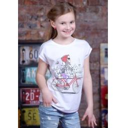 фото Футболка для девочек Detiland SS15-UBL-GTS-948. Цвет: белый. Рост: 128 см