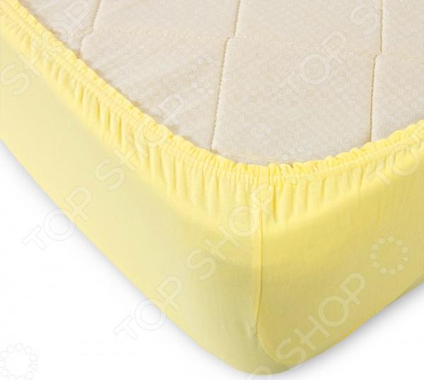 Простыня ТексДизайн на резинке. Цвет: желтый
