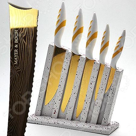 Набор ножей Mayer&amp;amp;Boch MB-22715Ножи<br>Набор ножей Mayer Boch MB-22715 станет отличным дополнением к комплекту аксессуаров и принадлежностей для кухни. Лезвия ножей выполнены из высокопрочного, не вступающей в реакции с продуктами питания, металла с титановым покрытием. Они имеют особую форму и специальный угол заточки, что обеспечивает удобство при нарезании и разделке продуктов. Полипропиленовая подставка в комплекте. Торговая марка Mayer Boch это синоним первоклассного качества и стильного современного дизайна. Компания занимается производством и продажей кухонных инструментов, аксессуаров, посуды и т.д. Функциональность, практичность и инновационные решения вот основные принципы торгового бренда Mayer Boch.<br>