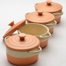 фото Набор жаровень с крышками Mayer&Boch керамические. Цвет: оранжевый