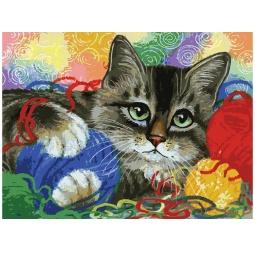 фото Набор для раскрашивания по номерам Белоснежка «Котик с клубочками»