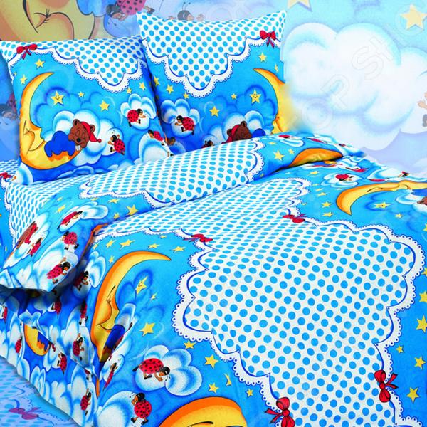 Детский комплект постельного белья Dream Time BLK-44-B-174. 1,5-спальныйДетские комплекты постельного белья<br>Dream Time BLK-44-B-174 это постельное белье нового поколения , предназначенное для молодых и современных людей, желающих создать модный интерьер в детской комнате. Комплект изготовлен из приятной на ощупь ткани, на 100 состоящей из хлопка. Яркий рисунок и высокое качество продукции гарантируют, что атмосфера в помещении наполнится теплотой и уютом, а малыш испытает множество сладких мгновений спокойного сна. При изготовлении постельного белья Dream Time используются устойчивые гипоаллергенные красители. Почему стоит выбрать постельное белье от бренда Dream Time  Изготовлено из экологически чистого, гипоаллергенного материала.  Дополнено дизайнерским рисунком, который оживит помещение.  Легко в уходе, не выцветает даже после множества стирок. В качестве сырья для изготовления данного комплекта постельного белья использованы нити хлопка. Натуральное хлопковое волокно известно своей прочностью и легкостью в уходе. Волокна хлопка состоят из целлюлозы, которая отлично впитывает влагу. Хлопок дышит и согревает лучше, чем шелк и лен. Поэтому одежда из хлопка гарантирует владельцу непревзойденный комфорт, а постельное белье приятно на ощупь и способствует здоровому сну.<br>