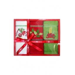 фото Комплект из 3-х махровых полотенец подарочный BONITA «Веточка, игрушки, свечи»