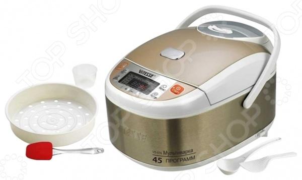 Мультиварка Vitesse VS-576Мультиварки<br>Мультиварка Vitesse VS-576 отличная помощница на кухне, совмещающая в себе множество интересных режимов для приготовления любимых блюд. Мультиварка оснащена керамическим антипригарным покрытием Eco-Cera, которое обеспечит сохранность вкусовых свойств блюда. Основные программы, с помощью которых вы сможете приготовить: выпечку, рис, блюда на пару, суп, холодец, традиционные голубцы, также многое другое. 16 автоматических программ приготовления: рис, йогурт, обжарка, пароварка, выпечка, суп, молочная каша, мясо, плов, тушение, паста, десерт, рисовая каша, запекание, овощи, подогрев. 29 программ ручной настройки: обжарка 120 C 160 C , мясо 125 C 145 C , подогрев 60 C 120 C , запекание 125 C 145 C , поддержание тепла 63 C 73 C 83 C . Полезные функции:  Отложенный старт это отличная функция, созданная для того, чтобы блюдо было готово в назначенное время. Просто настройте таймер на нужный час, и она сама начнет готовить в назначенное время.  Поддержка тепла до 12 часов позволяет некоторое время сохранять приготовленные блюда теплыми после окончания процесса приготовления. Благодаря этой функции ваша еда всегда будет готова к применению.  3D-нагрев поможет равномерно распределить тепло внутри чаши во время готовки. Встроенный дисплей поможет правильно настроить работу программ и выбрать нужный режим для приготовления. С этим устройством вам уже не придется просиживать много времени у плиты, а большой спектр возможностей для приготовления блюд, разнообразит повседневное меню.<br>