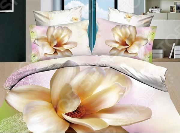 Комплект постельного белья с эффектом 3D Мар-Текс «Лилия». 1,5-спальный1,5-спальные<br>Комплект постельного белья с эффектом 3D Мар-Текс Лилия это незаменимый элемент вашей спальни. Человек треть своей жизни проводит в постели, и от ощущений, которые вы испытываете при прикосновении к простыням или наволочкам, многое зависит. Чтобы сон всегда был комфортным, а пробуждение приятным, мы предлагаем вам этот комплект постельного белья. Красивое оформление и высокое качество комплекта гарантируют, что атмосфера вашей спальни наполнится теплотой и уютом, а вы испытаете множество сладких мгновений спокойного сна. В качестве сырья для изготовления этого изделия использованы нити хлопка. Натуральное хлопковое волокно известно своей прочностью и легкостью в уходе. Волокна хлопка состоят из целлюлозы, которая отлично впитывает влагу. Хлопок дышит и согревает лучше, чем шелк и лен. Не забудем, что хлопок несъедобен для моли и не деформируется при стирке. Комплект постельного белья выполнен из ткани сатин. Полотно имеет гладкую и шелковистую лицевую поверхность, не уступающую по качеству шелку. Кроме того, данный тип ткани сохраняет свою прочность и привлекательный вид даже после многочисленных стирок. Главное, соблюдать рекомендации по уходу от производителя. Необходимо стирать при температуре, указанной на ярлычке, с использованием порошка для цветного белья. Не следует прибегать к применению хлорсодержащих средств и отбеливателей. Желательно выворачивать белье наизнанку перед стиркой.<br>