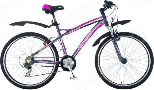 Велосипед Top Gear EnergyВелосипеды взрослые<br>Велосипед Top Gear Energy отличная модель для девочки-подростка, которая предпочитает активный отдых. Велосипед относится к типу MTB и является горным. Прочная и надежная рама, изготовленная из алюминиевого сплава, оснащена амортизационной вилкой. Это особенно важно во время езды по пересеченной местности. Тормозная система V-Brake из высококачественного алюминия. Переключатель скоростей Shimano переключатели Shimano FD TY10 Tourney Shimano RD TX31 Tourney , обеспечивающий быстрый разгон и легкость управления. Количество скоростей 21 3 звездочки в системе, 7 в кассете . Представленные в комплекте крылья помогут во время езды защитить одежду и личные вещи от пыли и грязи. Без сомнений, катание на велосипеде имеет огромное количество плюсов: оно укрепляет мышечный корсет, улучшает координацию движений и зрение, учит быстро и четко ориентироваться в пространстве, вырабатывает такие качества, как внимательность и сосредоточенность. Рост от 155 до 185 см, диаметр колес 26 дюймов. Покрышки Wanda, 26x2,35.<br>