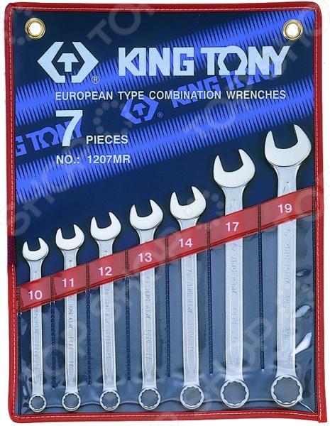 Набор ключей комбинированных King Tony KT-1207MRКомбинированные ключи<br>Набор ключей комбинированных King Tony KT-1207MR представляет собой набор ручных слесарных инструментов, используемых для завинчивания и отвинчивания крепежных деталей. Он незаменим для выполнения монтажных и демонтажных работ у вас дома, на даче, в гараже и т.д. В комплект входят семь рожково-накидных ключей различного диаметра 10, 11, 12, 13, 14, 17, 19 мм . Изделия выполнены из высококачественных прочных материалов, практичны и долговечны в использовании. Инструменты упакованы в чехол для хранения и переноски.<br>