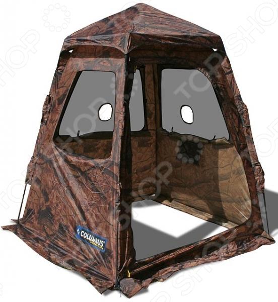 Палатка-засидка Columbus Black ForestПалатки<br>Палатка-засидка Columbus Black Forest комфортабельная палатка, которая обязательно пригодится каждому охотнику. Благодаря своей камуфляжной расцветке и компактным габаритам она отлично подойдет для выжидания зверя или птицы. Автоматический механизм обеспечивает быструю сборку и разборку конструкции весь процесс занимает не более полуминуты. Материал тента и дна прочный полиэстер с PU-пропиткой, обеспечивающей надежную защиту во время непогоды и увеличивающей уровень водостойкости жилища. Герметичные проклеенные швы не дают холодному воздуху просочиться внутрь. Противомоскитная сетка надежно защитит от насекомых, особенно активных в летний период времени. Основа конструкции прочные дуги из стеклопластика. В сложенном виде палатка не занимает много места, поэтому легко уместится даже в небольшой дорожной сумке.<br>