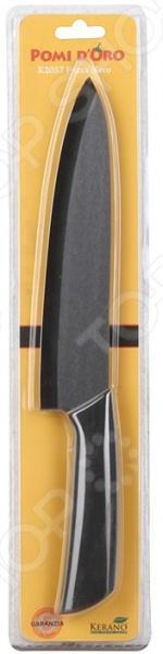 Нож керамический POMIDORO K2057Ножи<br>Нож керамический POMIDORO K2057 надежный и очень острый инструмент из керамики фирмы Kerano. Вы можете быть уверены, что материал лезвия не содержит вредных примесей, которые используются для аналогичных ножей из легированной стали. Главное преимущество керамики также в том, что она не вступает в химическую реакцию с продуктами в процессе резки. В результате вкус пищи остается неизменным, а лезвие не впитывает посторонние запахи. Керамические ножи прослужат очень долго без необходимости дополнительной заточки, если соблюдать несколько простых правил. Первым делом стоит подобрать правильную рабочую поверхность. К примеру, традиционная разделочная доска из дерева прекрасно подойдет для этих целей. Однако лучшим вариантом станет досточка из специального вспененного антибактериального пластика. Не стоит резать замороженные и твердые продукты. Назначение ножа поварской.<br>