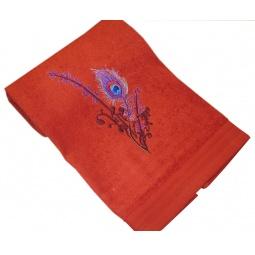 фото Полотенце подарочное с вышивкой TAC Feather. Цвет: терракотовый