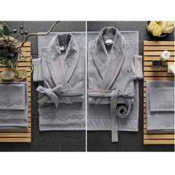 фото Набор халатов с полотенцами Valeron Crista. Цвет: серый