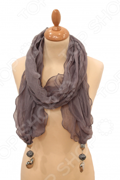 Шарф Milana Style «Легкая прохлада»Шарфы<br>Шарф Milana Style Легкая прохлада это шарф, который представляет собой известную и популярную модель для всех возрастов, идеально подходит для стиля casual. Обладательницы этого чудесного изделия, могут накинуть шарф на плечи, шею или же накинуть платок на голову обернув кончики во круг шеи, вы получите при этом шарф и шапку. Однотонный приятный цвет и бижу-декор на концах смотрятся очень современно. Платок сделан из мягкой ткани Хлопок 50 ; Полиэстер 50 , украшен интересным узором. Изделие будет отлично гармонировать с любыми предметами вашего гардероба.<br>