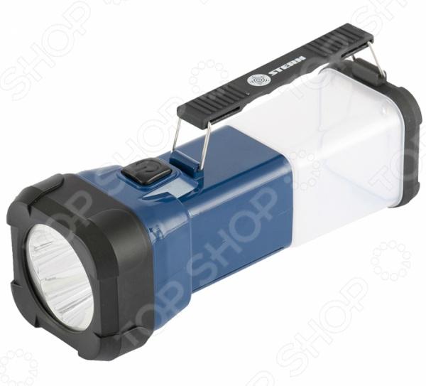 Фонарь кемпинговый Stern 90545Туристические фонари<br>Фонарь кемпинговый Stern 90545 это отличное дополнение к вашим аксессуарам, предназначенным для туристического похода или загородного отдыха. Представленная модель оснащена 3 светодиодами в передней части и дает широкое световое пятно с фокусом по центру. Если же установить фонарь вертикально на обрезиненное основание , то его можно использовать в качестве настольной лампы 4 источника света . Устройство работает от 3 батареек АА-типа, а для того, чтобы его было удобно нести, предусмотрена складывающаяся ручка.<br>