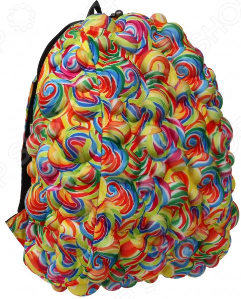 Рюкзак городской MadPax Bubble Full LollipopРюкзаки<br>Рюкзак городской MadPax Bubble Full Lollipop прекрасное сочетание хорошего качества, комфорта носки и стильного дизайна. Прочный рюкзак с вместительным основным отделением станет надежным хранилищем для самых разнообразных вещей, в которых нуждается житель современного города. Отправляясь на прогулку, вы всегда сможете захватить и свой ноутбук, разместив его в специальном кармане рюкзака диагональ ноутбука не более 17 дюймов . В боковых частях имеются карманы для различных мелочей, к которым нужен быстрый доступ. Предусмотрена надежная петля для ношения рюкзака в руке, а также мягкие регулируемые лямки для плеч. Они достаточно широкие, что позволяет оптимально распределить нагрузку на позвоночник. Дополнительную фиксацию осуществляет поперечная лямка, застегивающаяся на груди, и особая ортопедическая спинка. Кстати говоря, она оснащена системой вентиляции, поэтому прогулки с рюкзаком за плечами даже в жаркое время не доставят вам дискомфорта. Отдельно стоит отметить несколько футуристический и очень оригинальный дизайн изделия объемные формы. Они играют не только декоративную роль, но и создают некую амортизационную подушку, которая надежно защищает содержимое рюкзака от повреждения. Несомненно, такой яркий аксессуар выделит вас на фоне остальных и расскажет окружающим о вашем особом, неповторимом вкусе.<br>