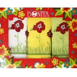 фото Комплект из 3-х гладкотканых полотенец подарочный BONITA «Полевые цветы»