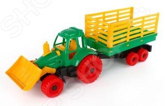 купить Машинка игрушечная Нордпласт «Трактор с грейдером и прицепом» по цене 533 рублей