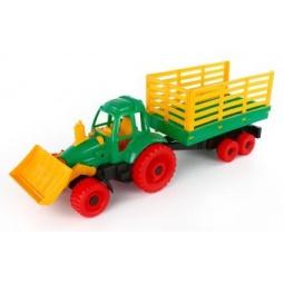 фото Машинка игрушечная Нордпласт «Трактор с грейдером и прицепом»