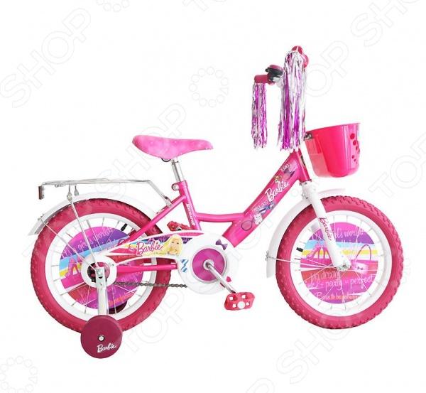 Велосипед детский Navigator ВН16087К «Barbie»Велосипеды подростковые и детские<br>Велосипед детский Navigator ВН16087К Barbie - создан специально для детей в возрасте от 2 до 5 лет. Надежную и прочную модель по-достоинству оценят как взрослые так и дети. Родителям непременно понравится качество модели. Рама велосипеда выполнена из высокопрочного металла, что значительно продлевает срок его службы. Высота руля и сиденья легко регулируется в соответствии с возрастом и ростом ребенка. Колеса, прошедшие компьютерную балансировку, оснащены бутиловыми шинами, которые хорошо удерживают воздух. В свою очередь вашей малышке непременно понравится яркий и красочный дизайн велосипеда, украшенный мишурой и изображениями любимых мультяшных героев. Научиться ездить на таком велосипеде не составит особого труда, ведь модель имеет дополнительные колеса для поддержки равновесия.<br>
