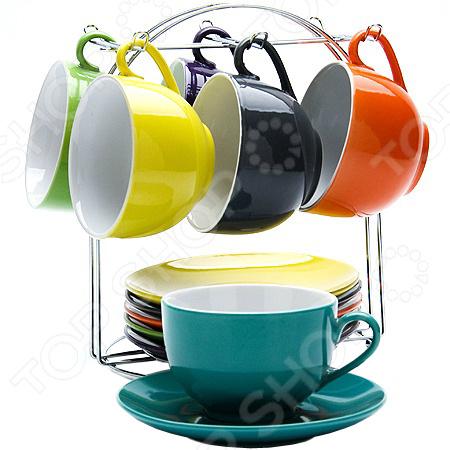 Набор чашек Loraine LR-23134Кружки. Чашки<br>Набор чашек Loraine LR-23134 станет отличным дополнением к набору кухонной посуды. В комплект входят шесть кружек с блюдцами и удобная металлическая подставка. Посуда выполнена из высококачественной керамики и покрыта яркими цветными красками. Торговая марка Loraine это синоним первоклассного качества и стильного современного дизайна. Компания занимается производством и продажей фарфоровой и стеклянной посуды. Функциональность, практичность и инновационные решения вот основные принципы торгового бренда Loraine.<br>