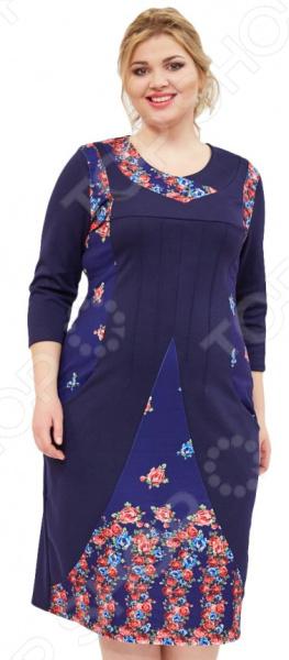 Платье Матекс «Жостово». Цвет: синийПовседневные платья<br>Платье Матекс Жостово поможет вам создавать невероятные образы, всегда оставаясь женственной и утонченной. Грамотный крой и цвет скрывают недостатки фигуры и подчеркивают достоинства. В этом платье вы будете чувствовать себя блистательно как на празднике, так и на вечерней прогулке по городу.  Платье полуприталенного силуэта, длина чуть ниже колена.  Круглый вырез горловины.  По бокам 2 небольших кармана.  Платье выполнено с декоративными вставками, которые визуально делают силуэт стройнее, а сам образ более выразительным. Платье сшито из мягкой приятной ткани, хорошо тянется 65 вискоза, 30 полиэстер, 5 лайкра, вставки: 100 полиэстер . Вставки выполнены из 100 полиэстера. Материал не линяет, не скатывается, формы от стирки не теряет.<br>