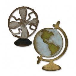 фото Форма для вырубки на магнитной основе Sizzix Movers & Shapers Die Вентилятор и глобус