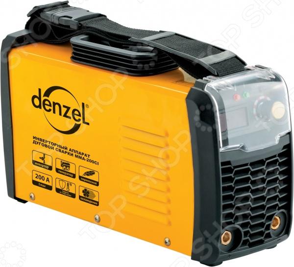 Аппарат инверторный дуговой сварки Denzel MMA-200CIСварочные аппараты<br>Аппарат инверторный дуговой сварки Denzel MMA-200CI прибор, используемый для проведения различных сварочных работ. Он является прекрасной альтернативой классическим сварочным трансформаторам и широко используется как в быту, так и на малых предприятиях и станциях автомобильного техобслуживания. Аппарат хорошо зарекомендовал себя в работе в условиях нестабильного электронапряжения. Полезное время работы прибора составляет 80 , а диаметр электрода 1,6-5 мм. Преимущества модели:  защита от перегрева;  функция охлаждения;  переносная конструкция.<br>