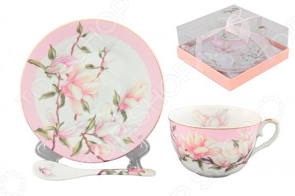 Чашка чайная с блюдцем и ложкой Elan Gallery «Магнолия» 180693 Elan Gallery - артикул: 534887