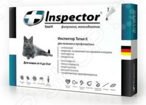 Капли для кошки от внешних и внутренних паразитов Inspector I206Ветаптека<br>Капли для кошки от внешних и внутренних паразитов Inspector I206, эффективно справляющиеся с паразитами. Он успешно противодействует сразу 14 видам паразитов, в том числе и сердечным гельминтам. Препарат воздействует на организм кошки в кратчайшие сроки, избавляя от паразитов без дискомфорта для животного. Препарат не вызывает аллергии. Подходит для кошек весом 4-8 кг.<br>