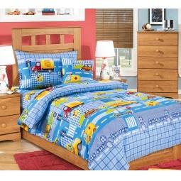 фото Ясельный комплект постельного белья Бамбино «Машинки». Цвет: голубой