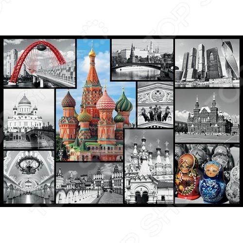 Пазл 1000 элементов Trefl «Москва. Коллаж»Пазлы (501–1000 элементов)<br>Пазл 1000 элементов Trefl Москва. Коллаж это отличное и веселое времяпрепровождения для всей семьи. Внутри упаковки находится набор из 1000 элементов. Части изображения соединяются между собой с помощью пазлового замка. Собрав все детали воедино, у вас получится великолепная картина, которую, сперва надежно закрепив, можно повесить на стену, как предмет декора. Пазл 1000 элементов Trefl Москва. Коллаж изготовлен из абсолютно безопасного материала, поэтому замечательно подойдет для детей. Головоломка развивает усидчивость, наблюдательность, образное восприятие и логическое мышление. Постоянно манипулируя деталями, ребенок улучшает мелкую моторику рук и координацию движений.<br>