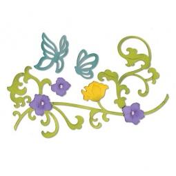 фото Набор форм для вырубки Sizzix Thinlits Die Цветочная лоза и бабочки