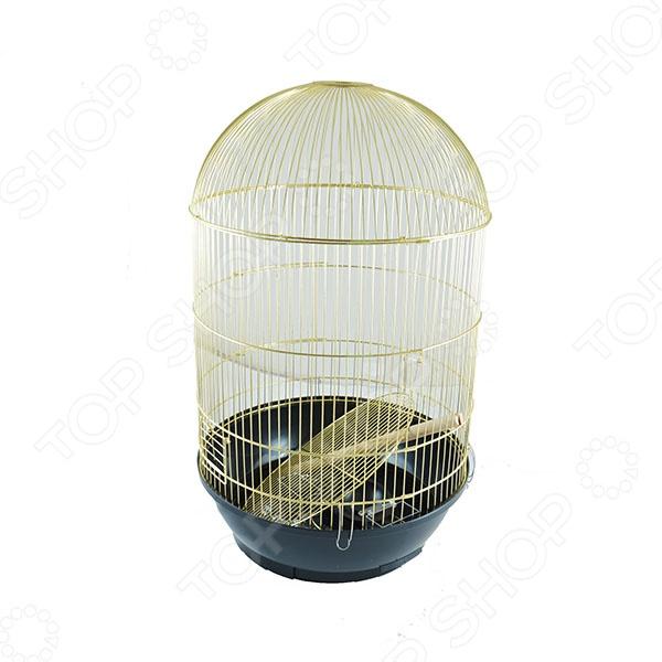 Клетка для птиц Золотая клетка 330GКлетки<br>Клетка для птиц Золотая клетка 330G просторное жилище для небольших птиц, в котором есть необходимые аксессуары для отдыха и принятия пищи. Такая клетка подойдет для таких птиц как: волнистые попугаи, амадины, канарейки и других мелких особей. Клетка сделана из облегченного металла. Конструкция отлично продумана для возможности любоваться окружающим видом и свободно передвигаться по клетке. Снабжена ручкой для удобной переноски. Для удобства ухода за клеткой есть выдвижной пластиковый поддон.<br>
