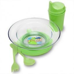Купить Набор посуды БУСИНКА: тарелочка, ложка, вилка, поильник. В ассортименте