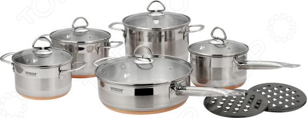 Любите готовить Кулинарные шедевры вам поможет создать набор кухонной посуды Vitesse Ophelie с медным многослойным термоаккумулирующим дном. Способ нагрева: газовые, стеклокерамические, чугунные и галогеновые конфорки. Все предметы для готовки набора Vitesse Ophelie имеют ручки на клепках из нержавеющей стали, матовую и зеркальную полировку. Можно мыть в посудомоечной машине.