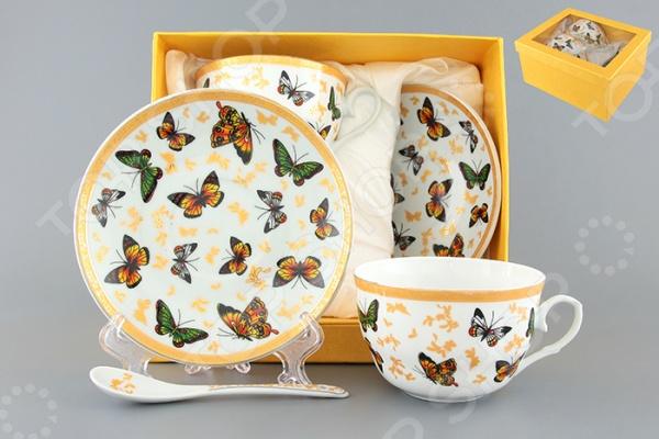 Чайная пара с ложками Elan Gallery «Бабочки» Elan Gallery - артикул: 534249