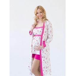 фото Комплект: халат и пижама с шортиками Nuova Vita 114.52. Цвет: экрю, фуксия. Размер: 46