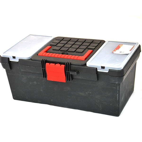 Ящик для инструментов КФ 150020Сумки. Ящики. Шкафы для инструментов<br>Ящик для инструментов КФ 150020 из прочного износостойкого пластика. Отличный вариант для хранения и транспортировки ручного инструмента. Ящик оснащен удобной и прочной ручкой. В наличии два встроенных органайзера с крышкой для хранения крепежа и мелких деталей.<br>
