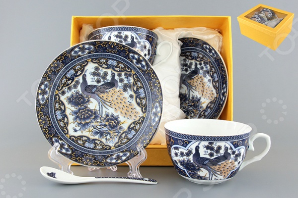 Чайная пара с ложками Elan Gallery «Павлин синий» 730490 Elan Gallery - артикул: 534253
