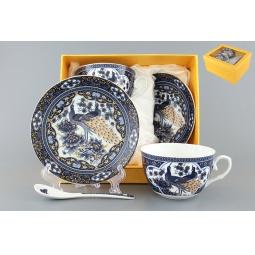 Купить Чайная пара с ложками Elan Gallery «Павлин синий» 730490