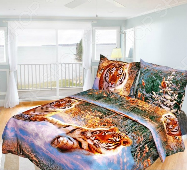 Комплект постельного белья Олеся «Тигры». 1,5-спальный