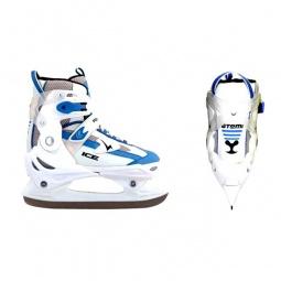 фото Коньки детские раздвижные хоккейные ATEMI TEMP голубые. Размер: 30-33