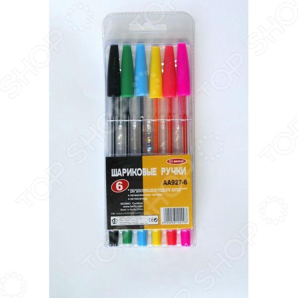 Набор ручек шариковых Beifa АА 927-6Ручки для школы<br>Набор ручек шариковых Beifa АА 927-6 - набор простых, но в то же время необходимых пишущих инструментов. Ручки пригодятся как в учебе, так и на работе. В набор входят 6 цветных ручек с прозрачными корпусами, выполненными из высококачественного пластика. Зона хвата имеет рифленую поверхность, которая не дает пальцам скользить и обеспечивает дополнительным комфорт при письме. Чернила ручек не токсичны, поэтому этим набором могут пользоваться даже маленькие дети. Металлический наконечник обеспечивает плавное и комфортное письмо.<br>