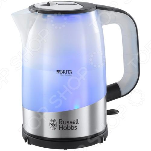 Чайник Russell Hobbs 18554-70Чайники электрические<br>Удобный и простой в использовании чайник Russell Hobbs 18554-70 изготовлен из прочного термостойкого пластика. Благодаря мощности в 2200 Вт и нагревательному элементу скрытого типа, быстро вскипятит воду объемом до 1 литра. Главной особенностью модели является наличие встроенного фильтра BRITA MAXTRA, который тщательно удаляет из воды вредные примеси хлора, свинца, меди и пр.. Индикатор на ЖК-дисплее вовремя оповестит о необходимости сменить фильтрующий элемент. Подсветка резервуара голубым цветом создаст неповторимую атмосферу во время работы прибора. Чайник Russell Hobbs 18554-70 оснащен индикатором включения выключения, шкалой уровня воды и съемным моющимся фильтром от накипи. В целях безопасности имеются функции блокировки включения без воды и автоотключения при закипании или снятия устройства с подставки. Цоколь с центральным контактом позволяет поворачивать прибор на 360 . Кабель удобно сворачивать и хранить в подставке. Благодаря стильному дизайну, чайник Russell Hobbs 18554-70 впишется в любую современную кухню.<br>